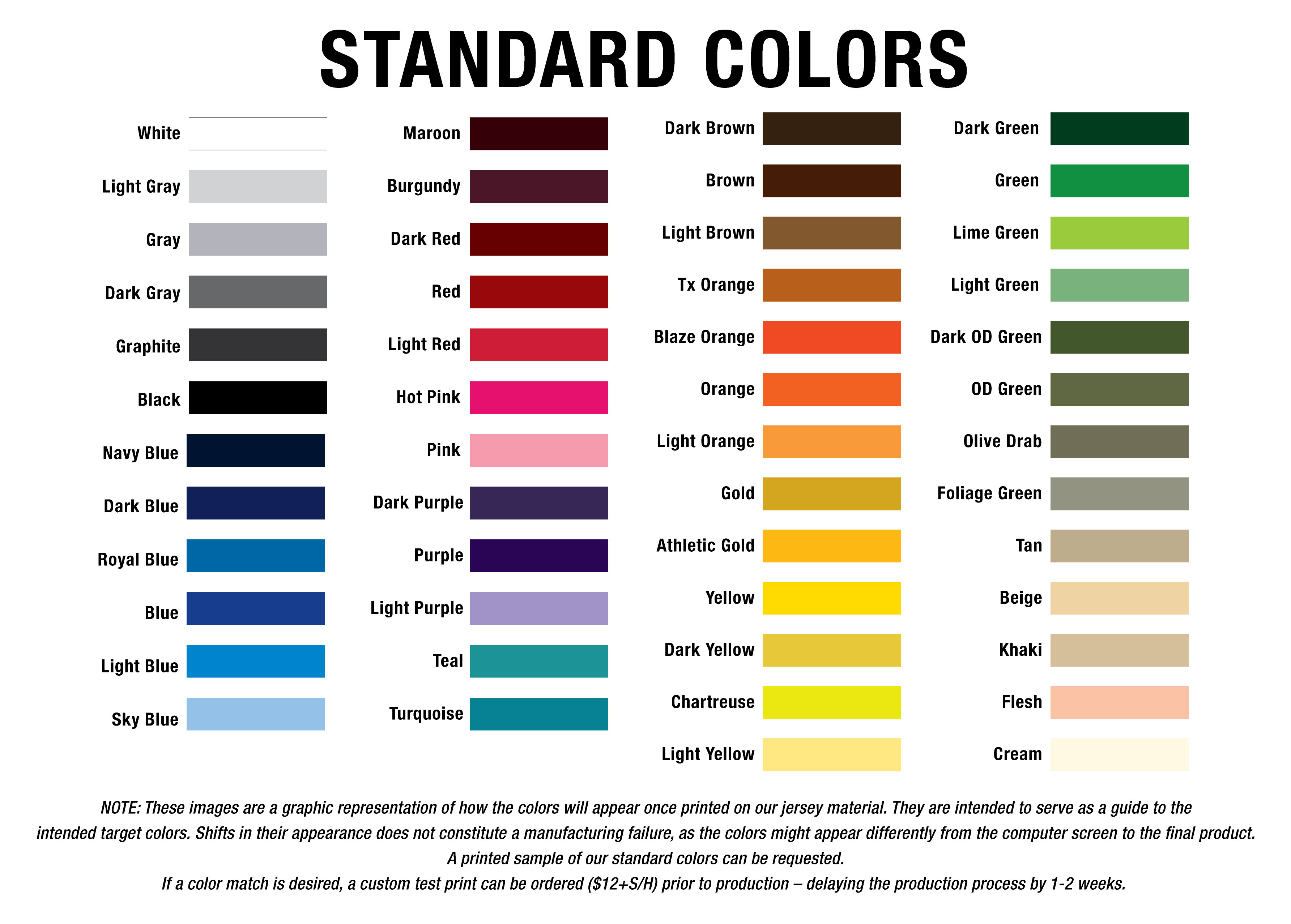 Standard Colors | G2 Gemini | The leader in custom apparel ...